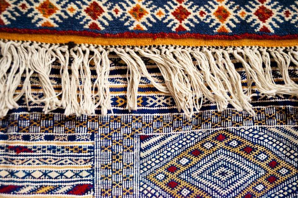 A close-up of a Morrocan rug