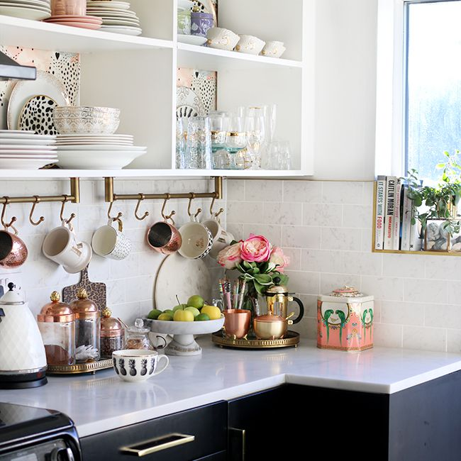 Organized kitchen counter top and shelves