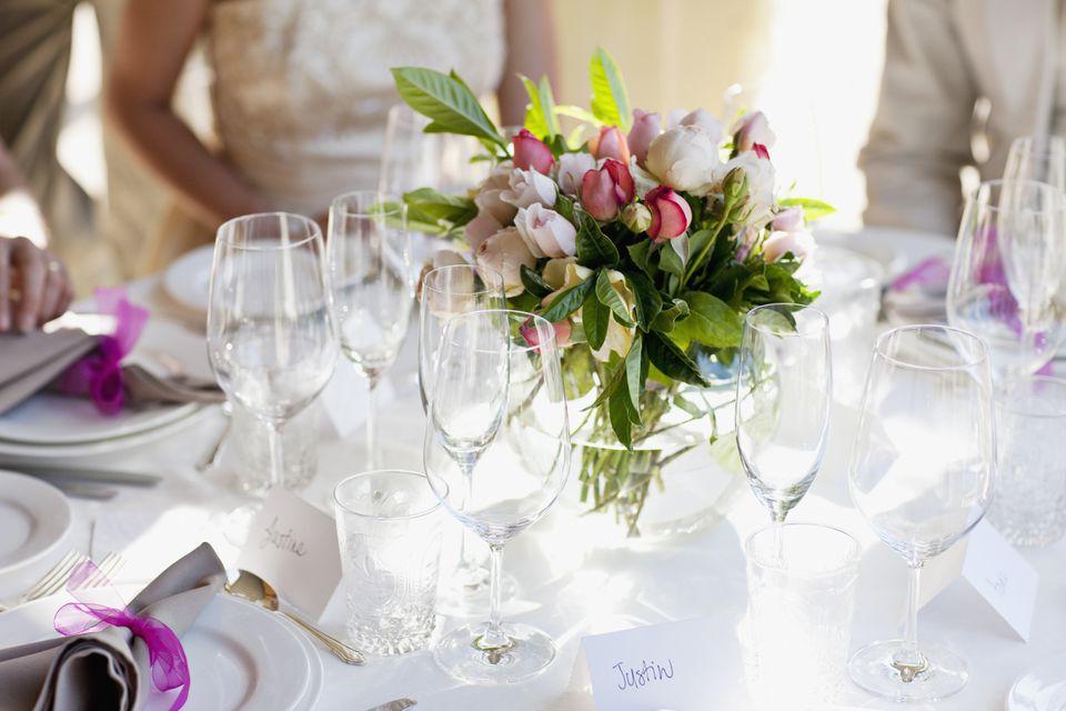 Close up of centerpiece at wedding reception
