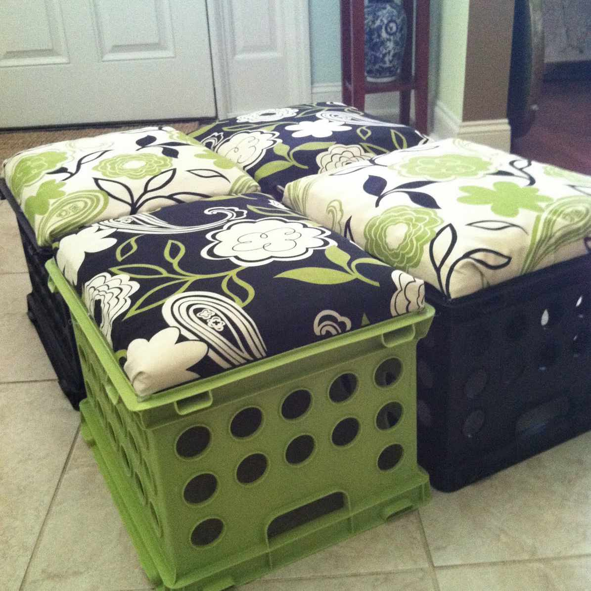 Milk crate storage bench DIY