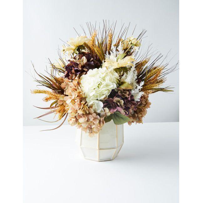 Hydrangea Wheat And Rose Artificial Flower Arrangement