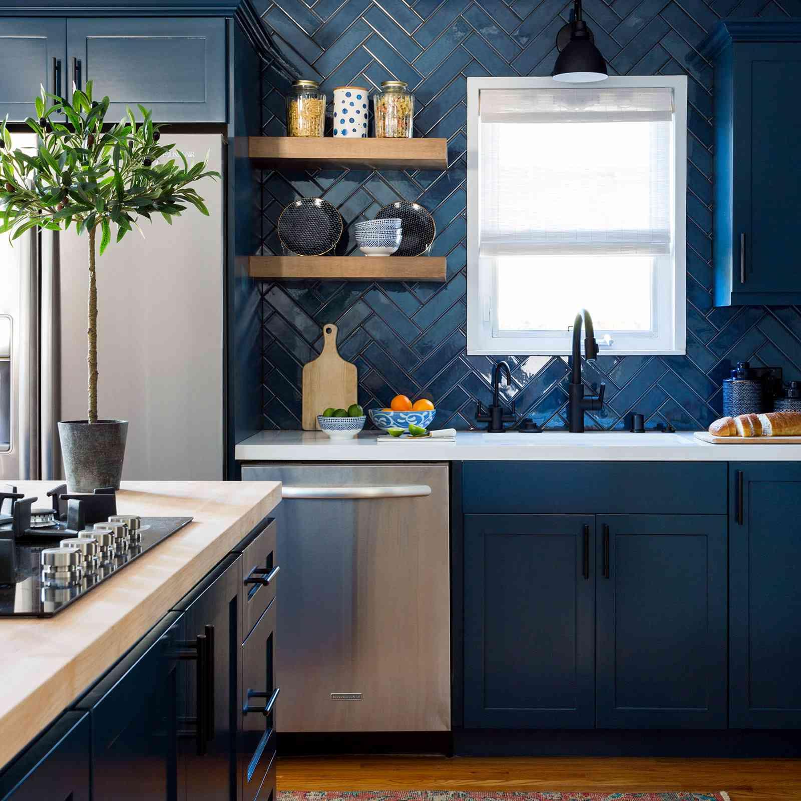 blue herringbone tile in kitchen