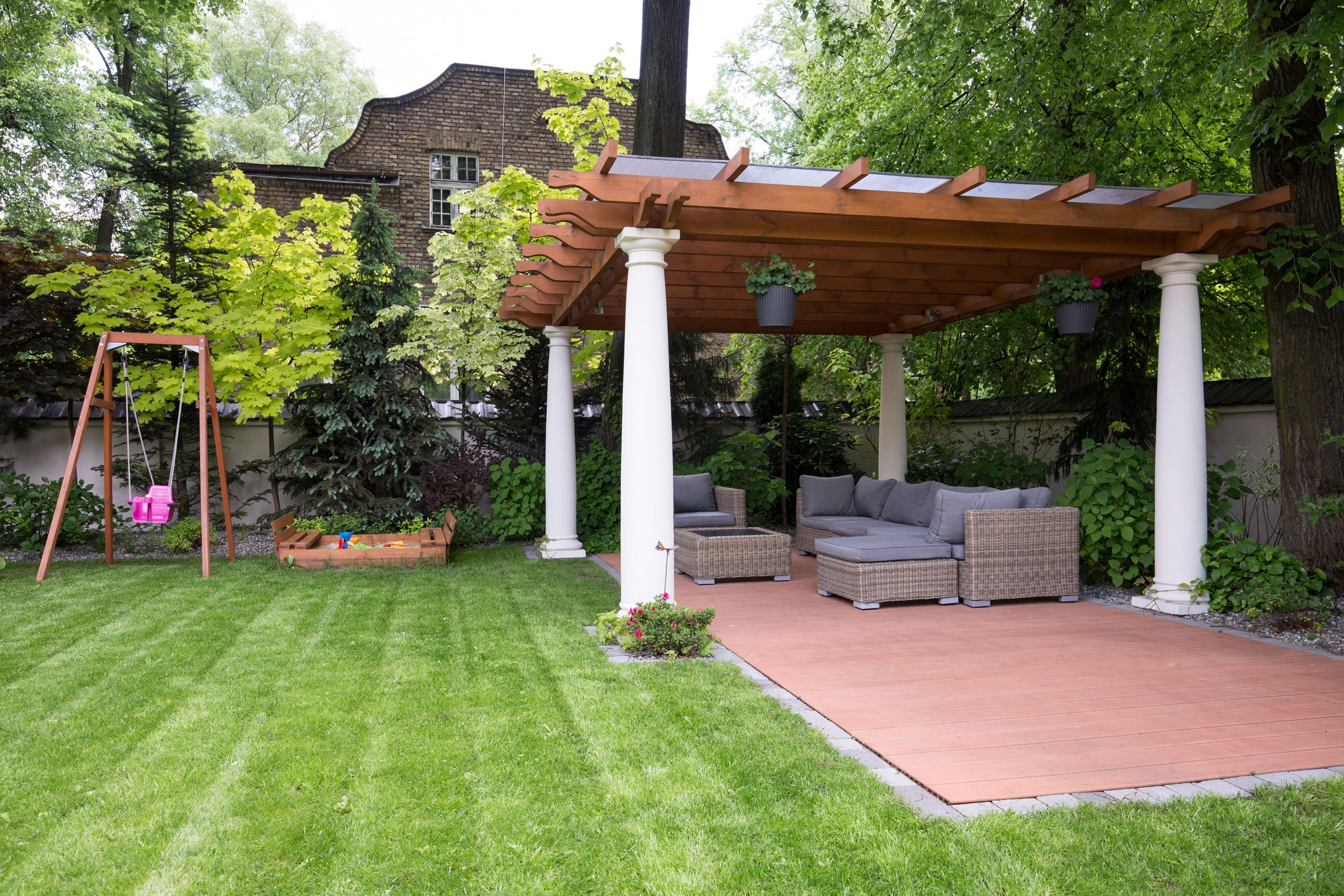 Beauty garden with modern gazebo