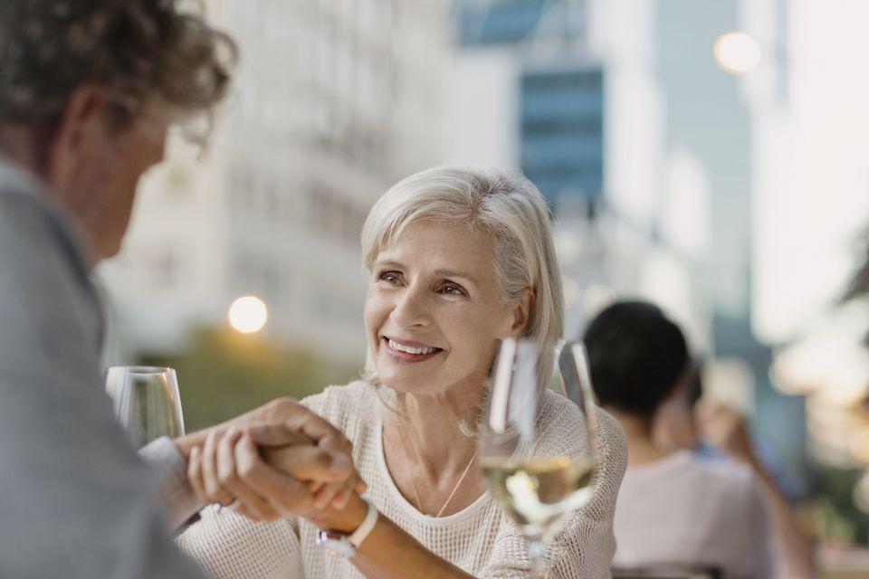 Senior couple at outdoor restaurant