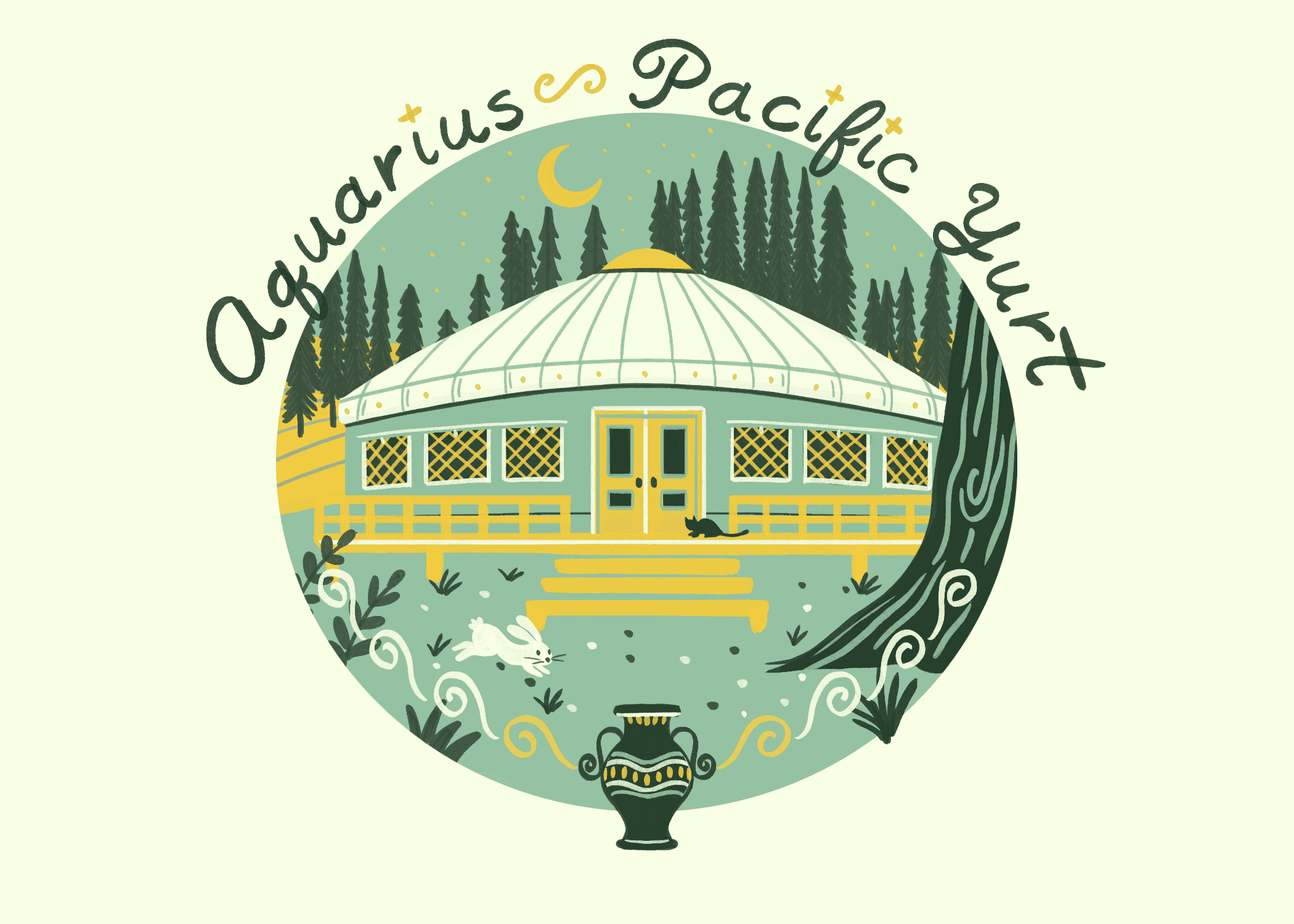 An illustration of a yurt for an aquarius