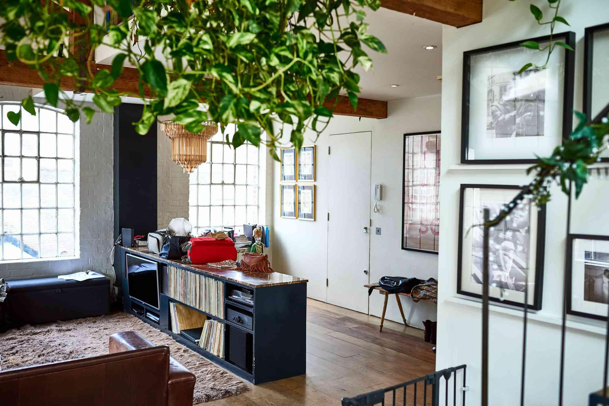 Bohemian living room interior, record collection, apartment, interior design