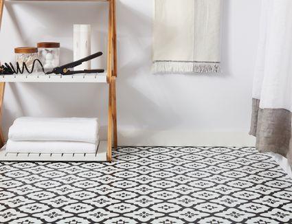 bathroom with self-adhesive tiles