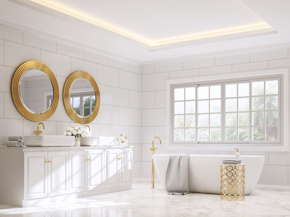 Classical style bathroom with white and gold 3d render
