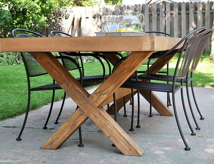 An outdoor table with metal chairs