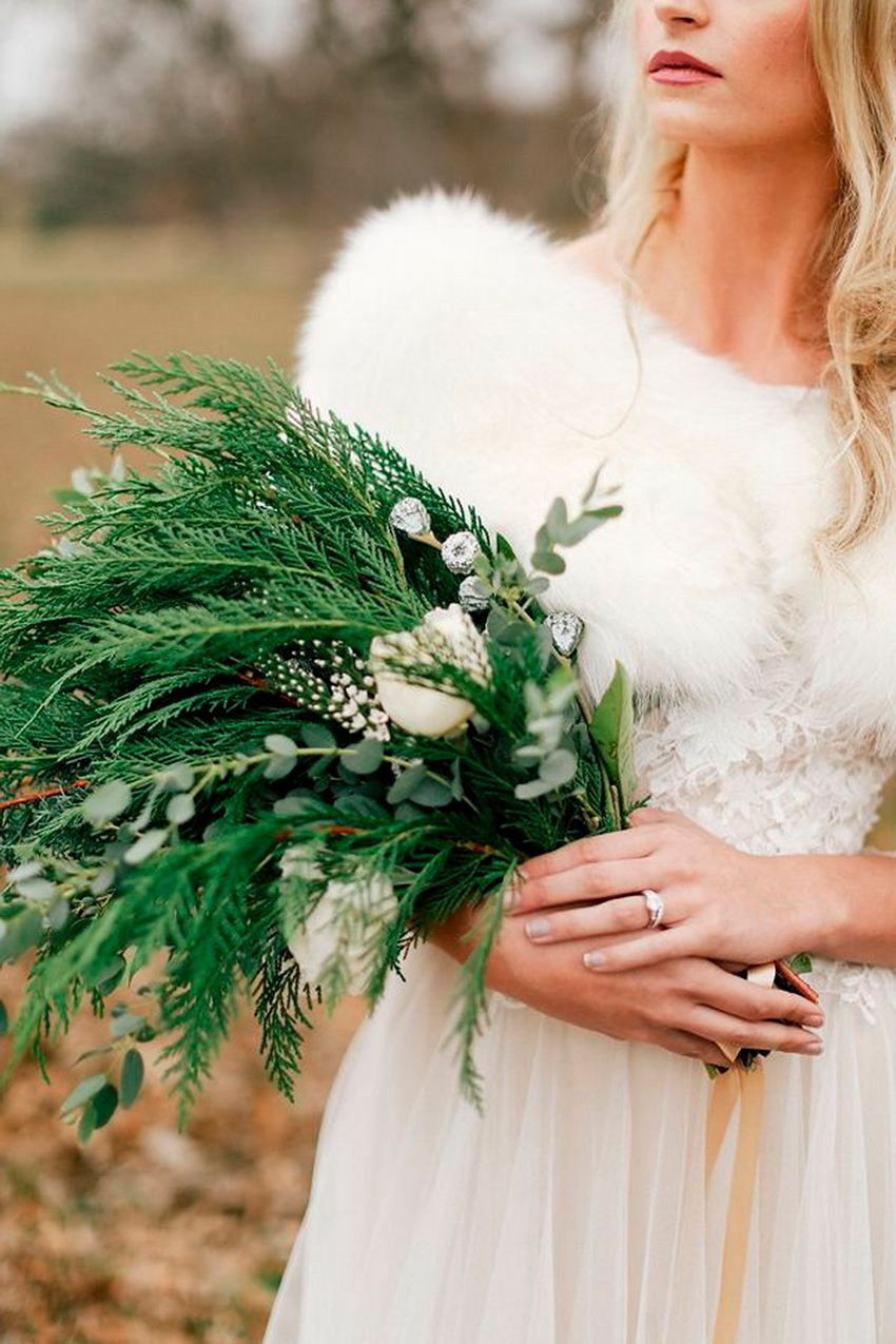 Evergreen Winter Wedding Bouquet