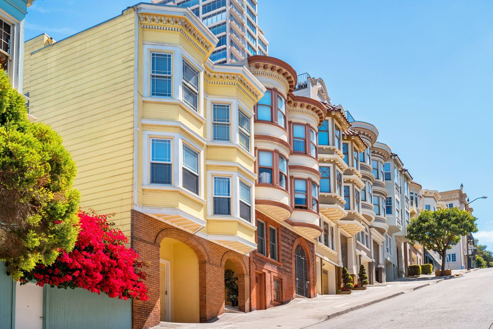 Typical row houses in San Francisco California USA