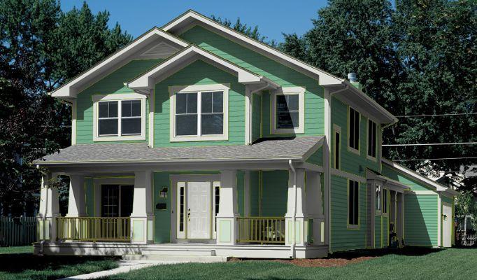 Ideas de pintura verde para el exterior de la casa