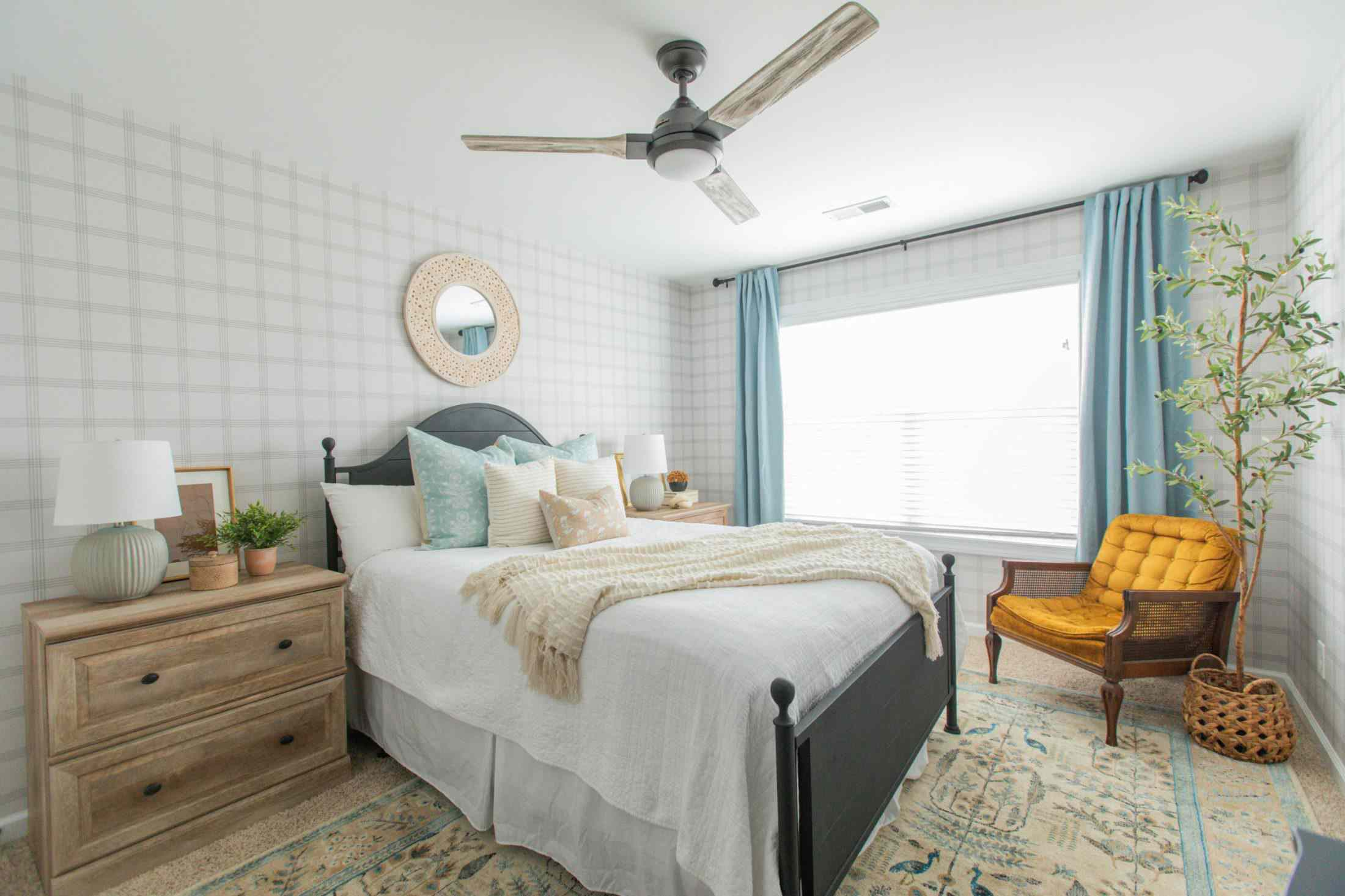 blue and brown guest bedroom