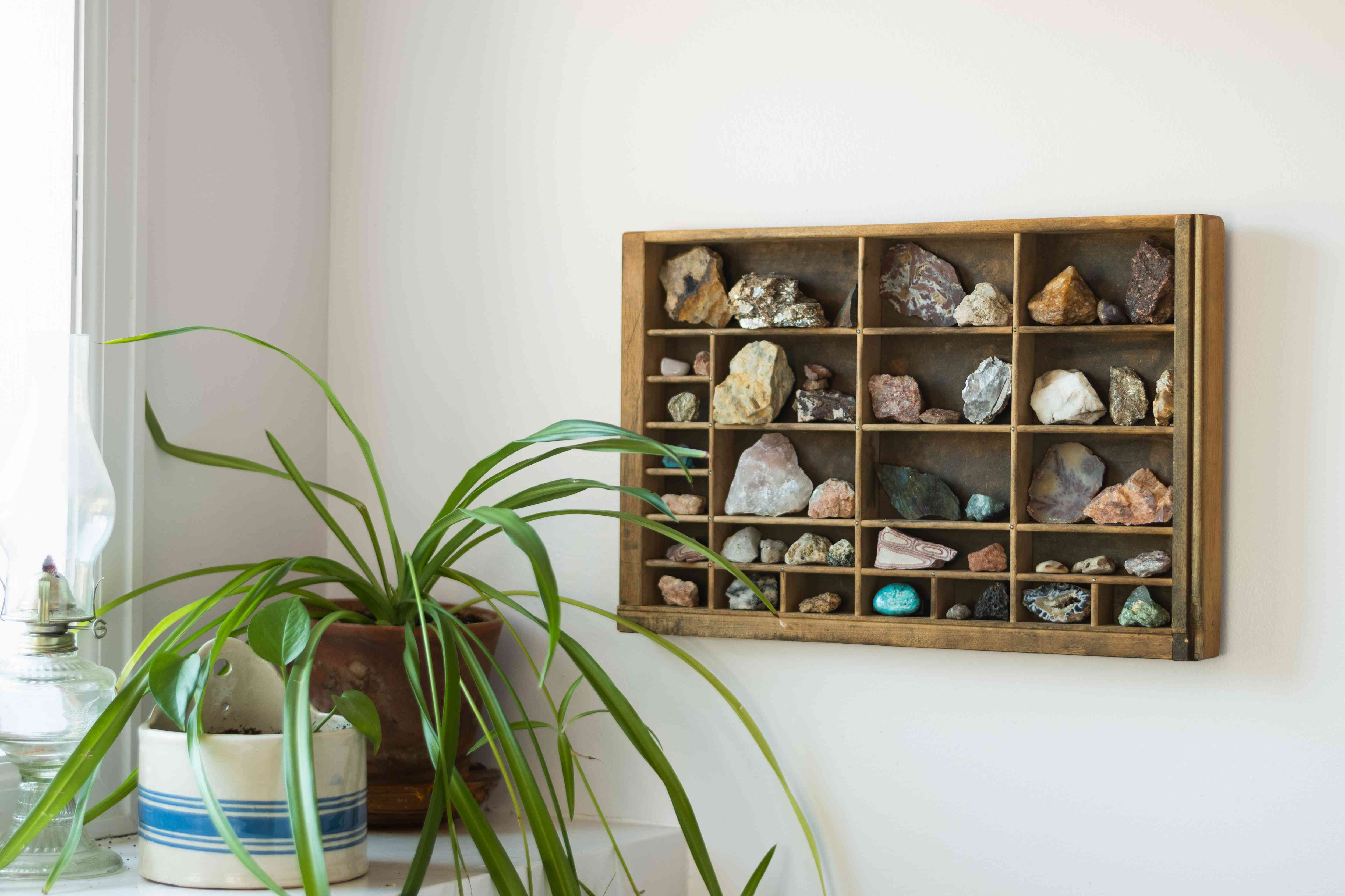 using a letterpress drawer to display crystals
