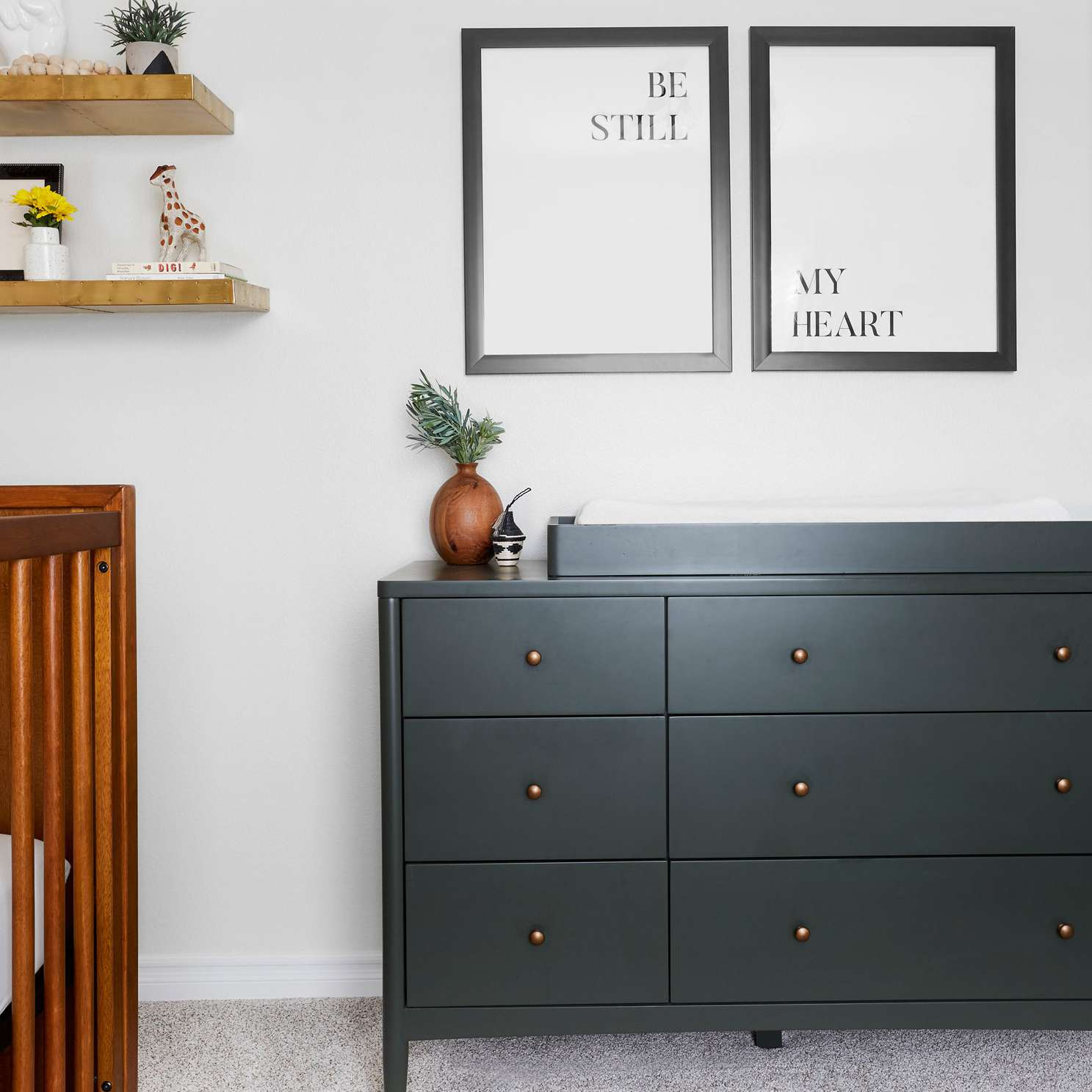 dresser with changing table on top