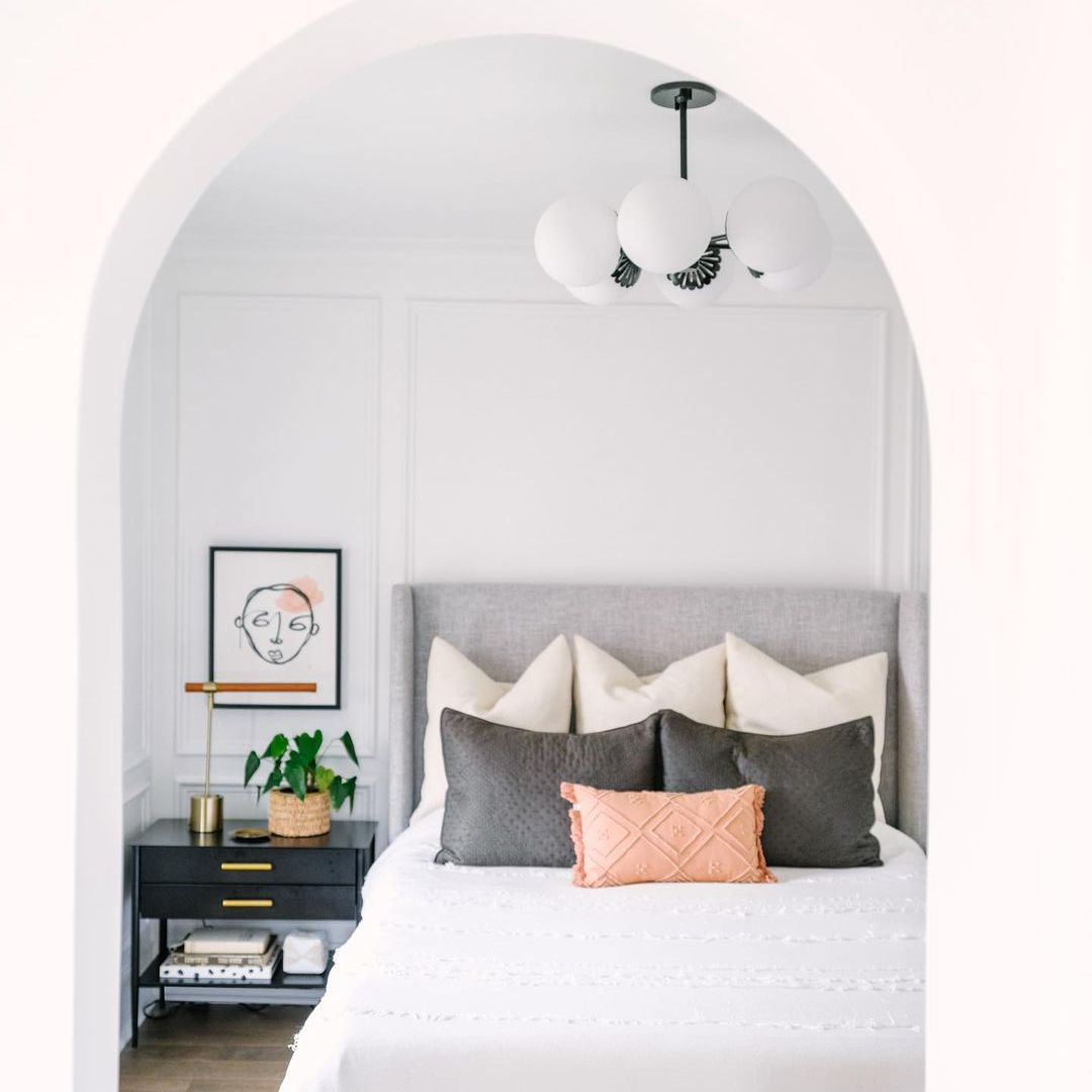 white arch and moldings