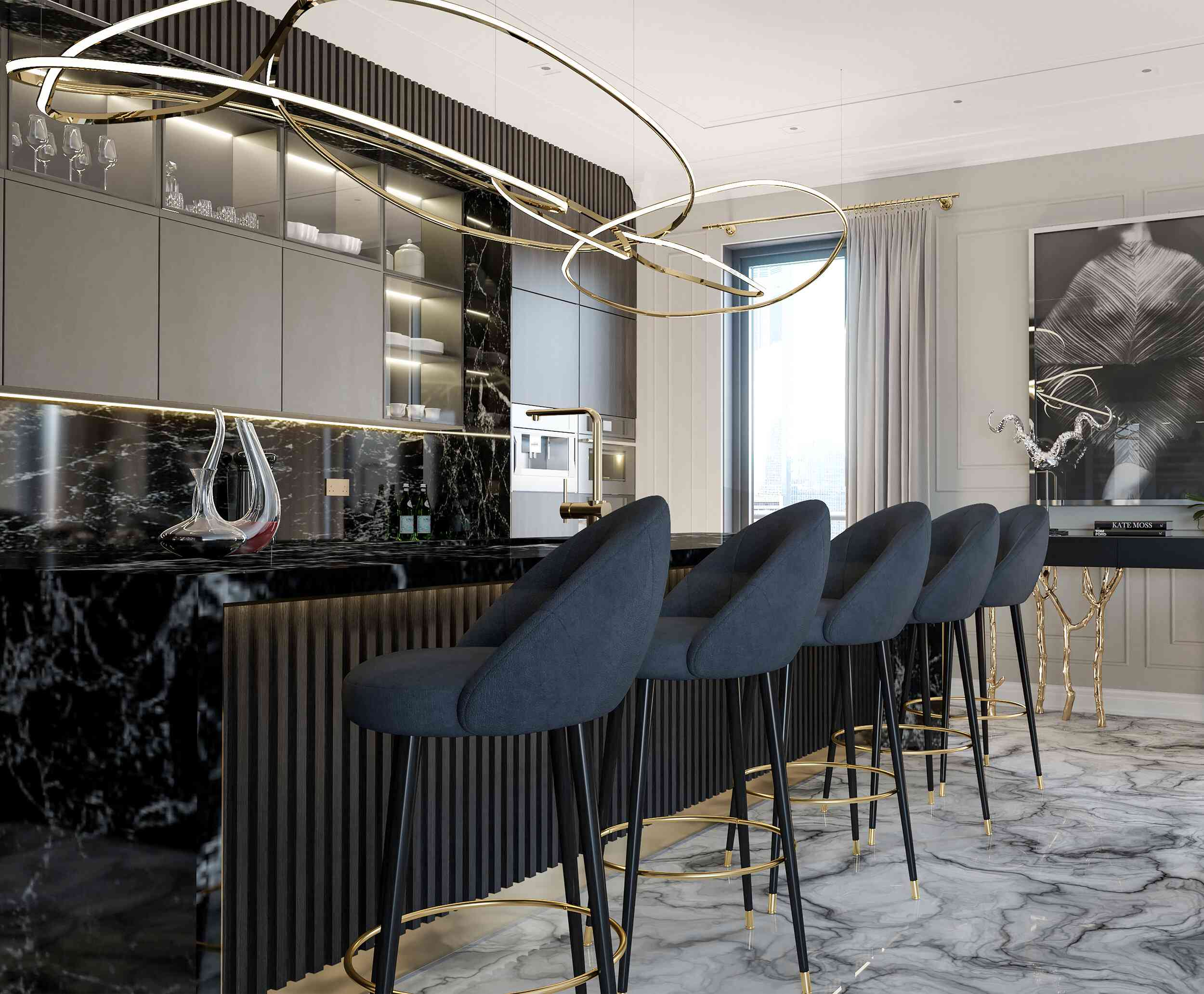 Breakfast bar with black marble
