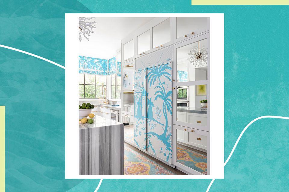 Interior designer Courtnay Tartt Elias designed this kitchen around a paneled fridge decorated with a blue and white tropical design