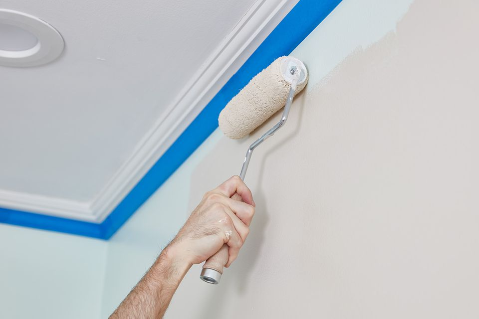 Painting taped wall