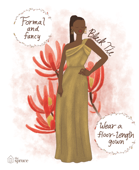 4a3008b60c4 Illustration of what to wear to a black tie fall wedding
