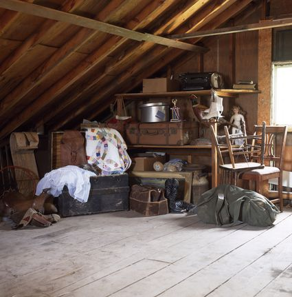 Attic filled with furniture.