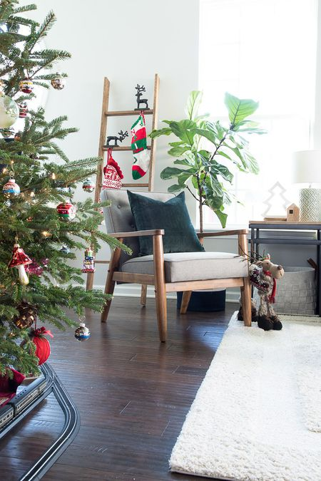 christmas living room with ladder