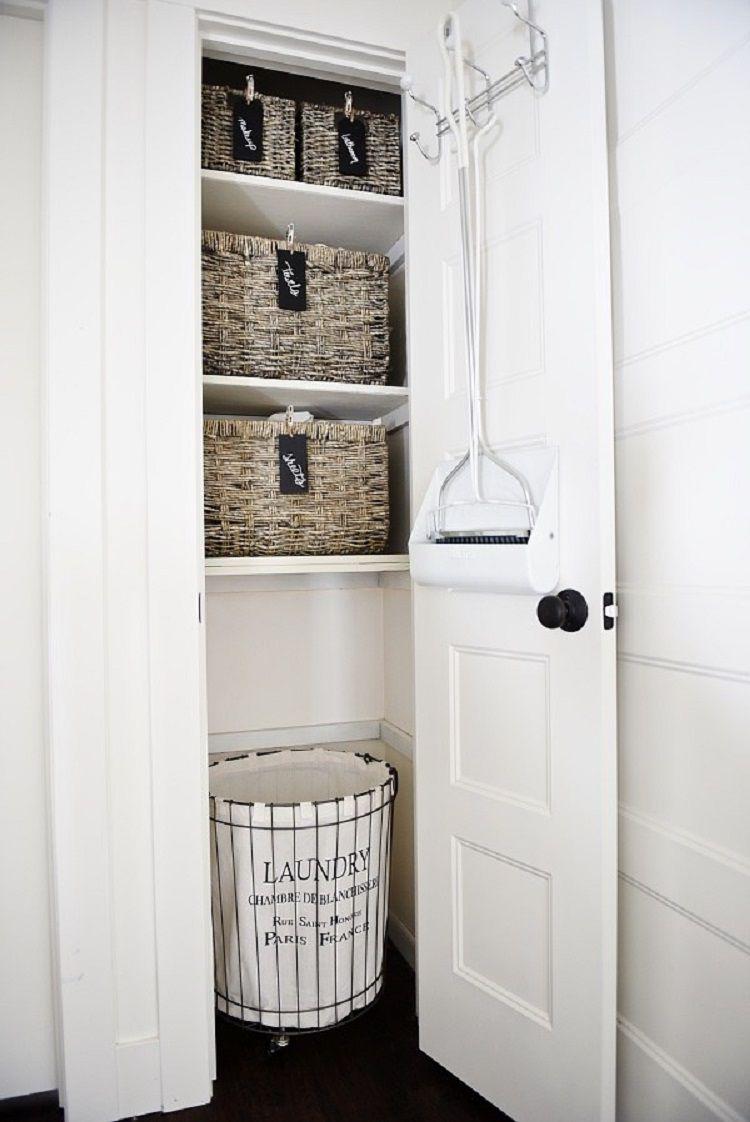 linen closet with baskets