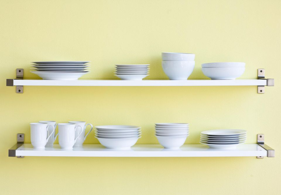 Two shelves of tableware