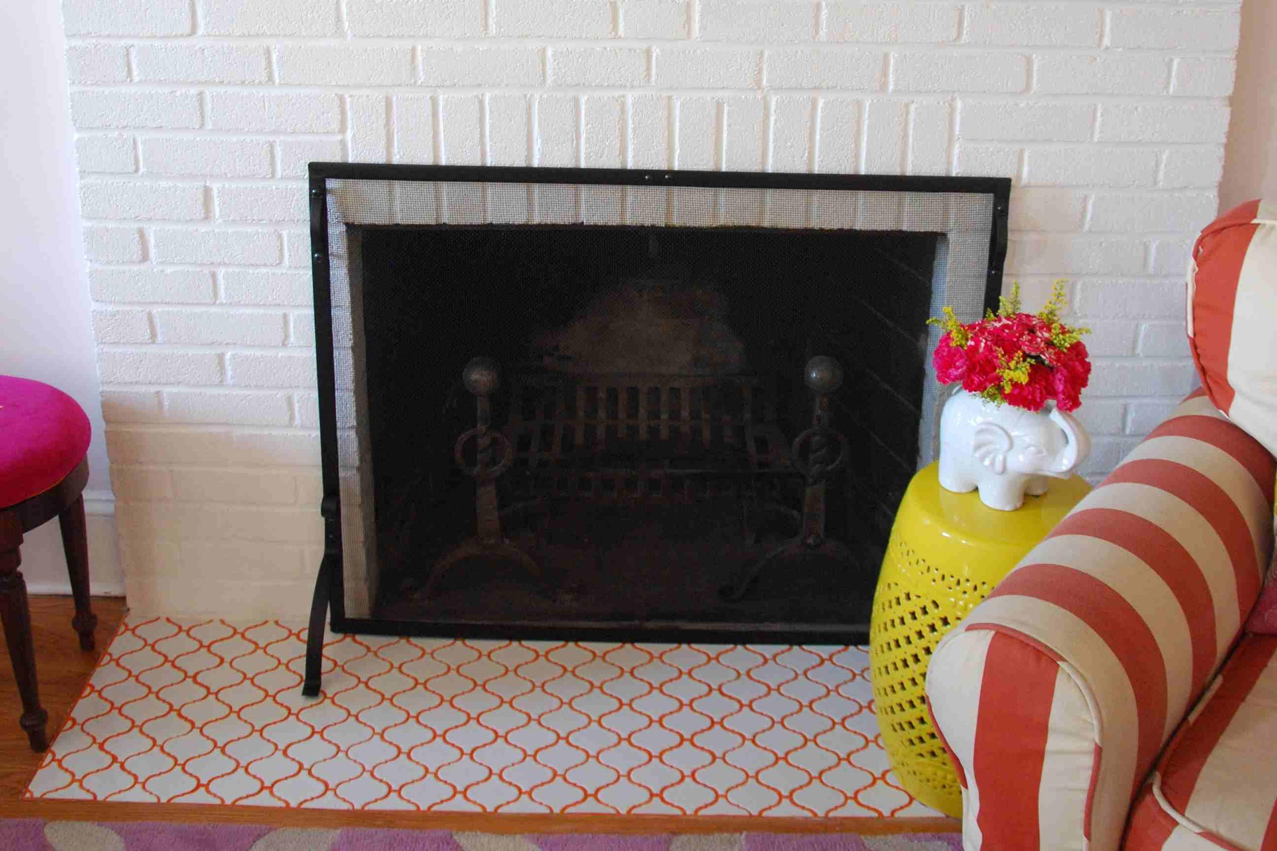 Orange Grout Fireplace Tile