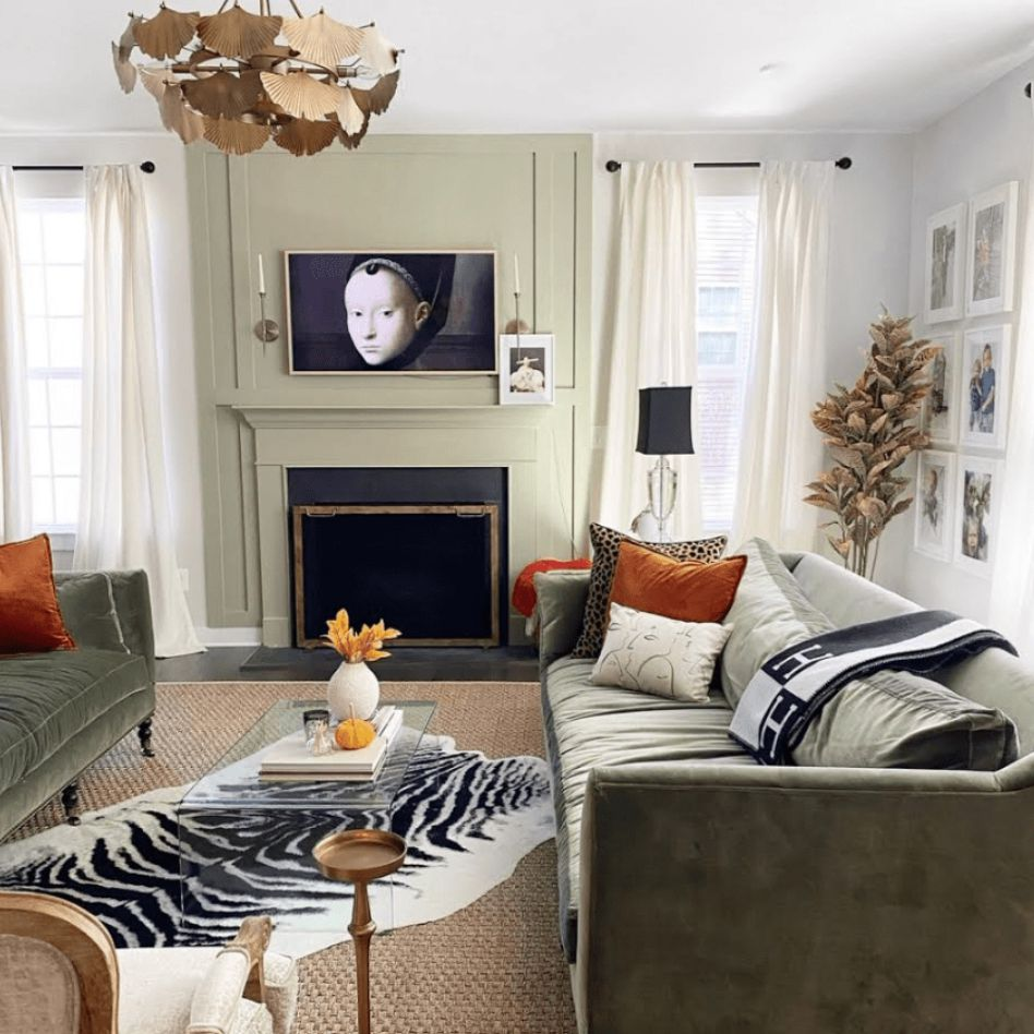 Animal print decor used throughout a living room