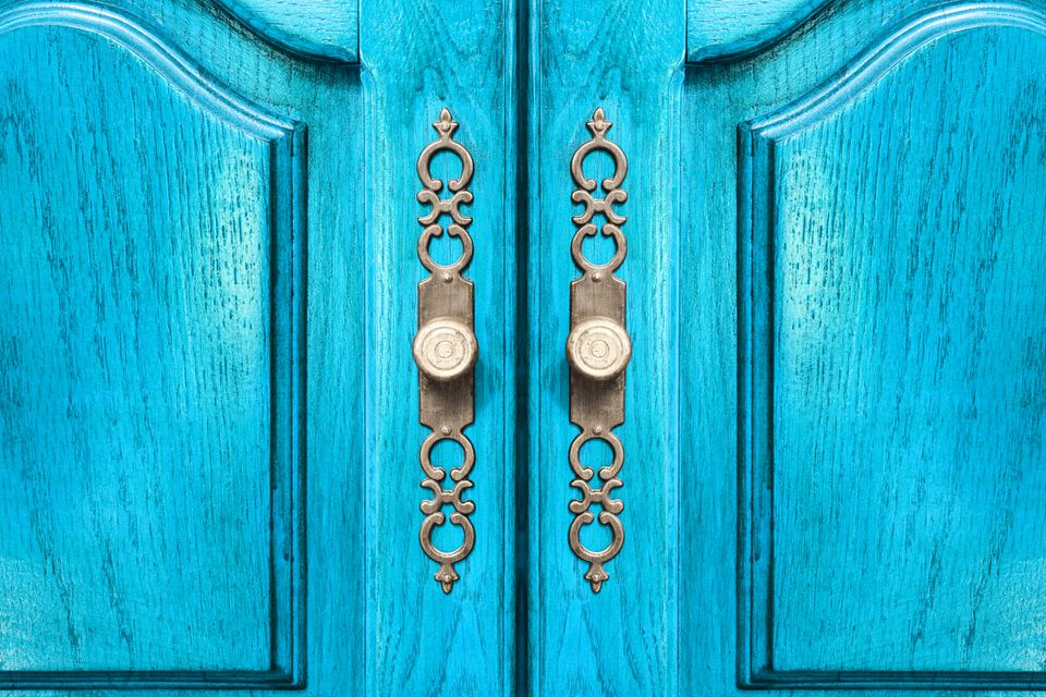 Bright blue wooden closet doors