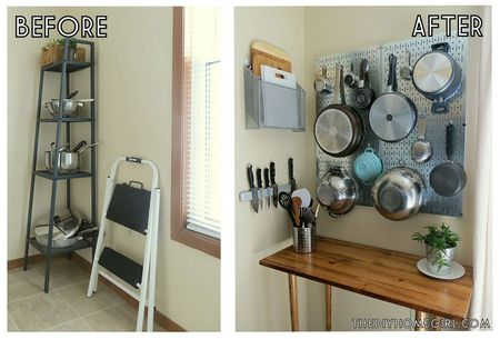 Kitchen Corner Vertical Storage Pegboard Sideboard Makeover