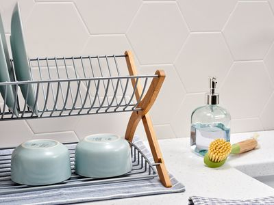drying rack and dishes