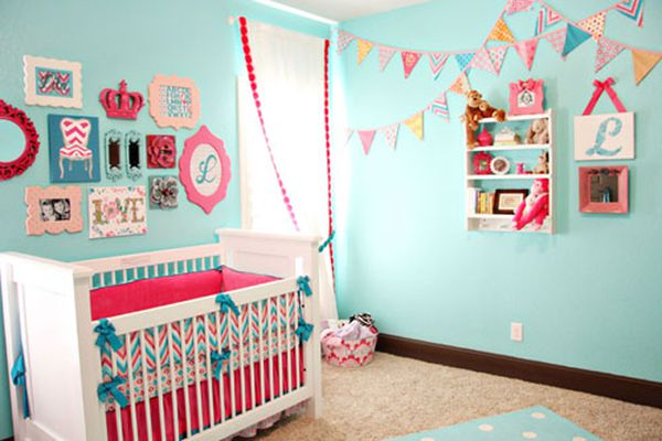 Aqua nursery with colorful accents