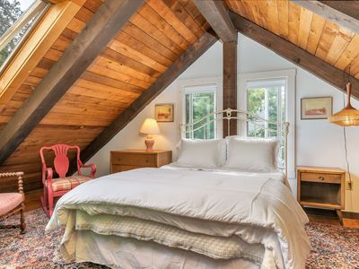 Loft bedroom in Cape Cod renovation home