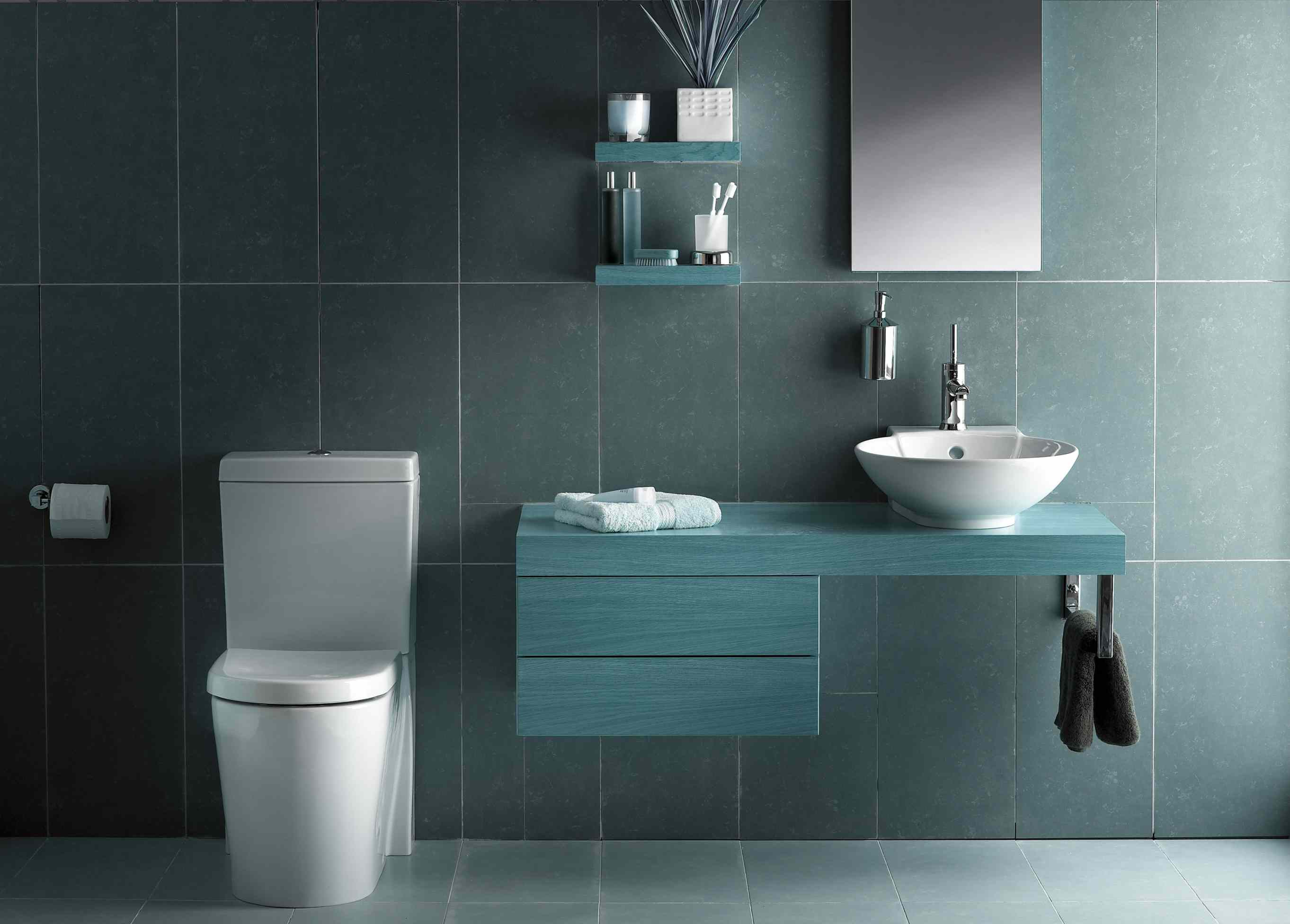 Blue tinted wood bathroom vanity
