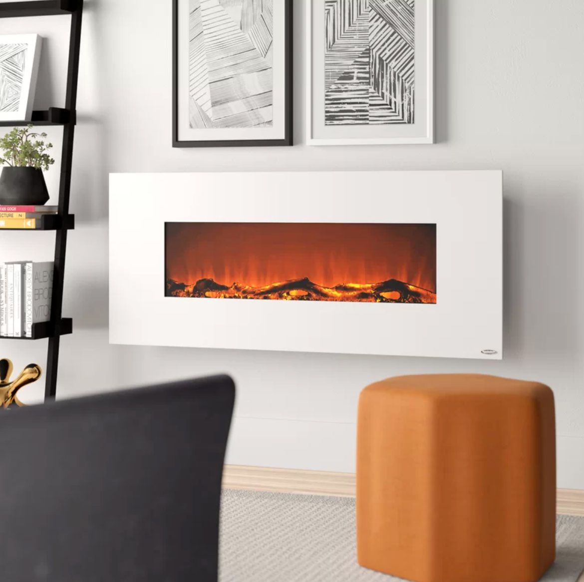 Lauderhill 50.4'' W Surface Wall Mounted Electric Fireplace