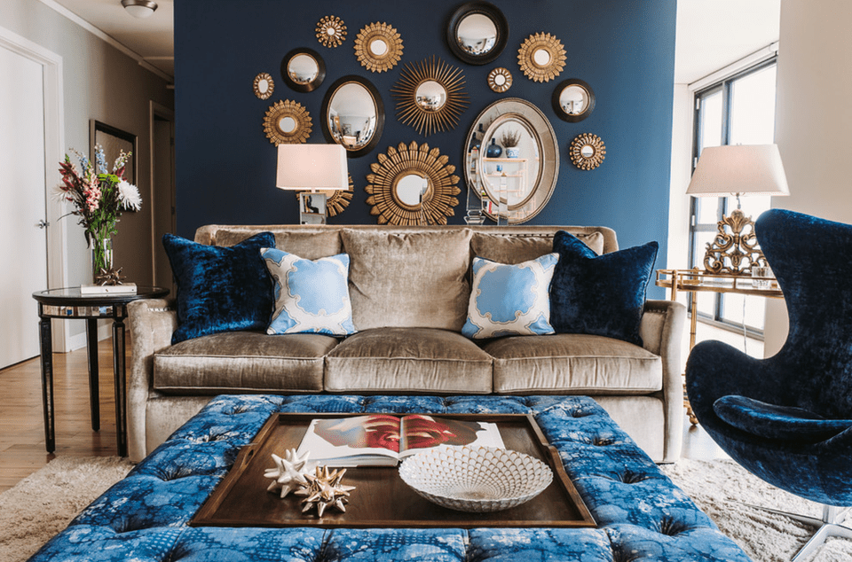 Accent wall with mirrors