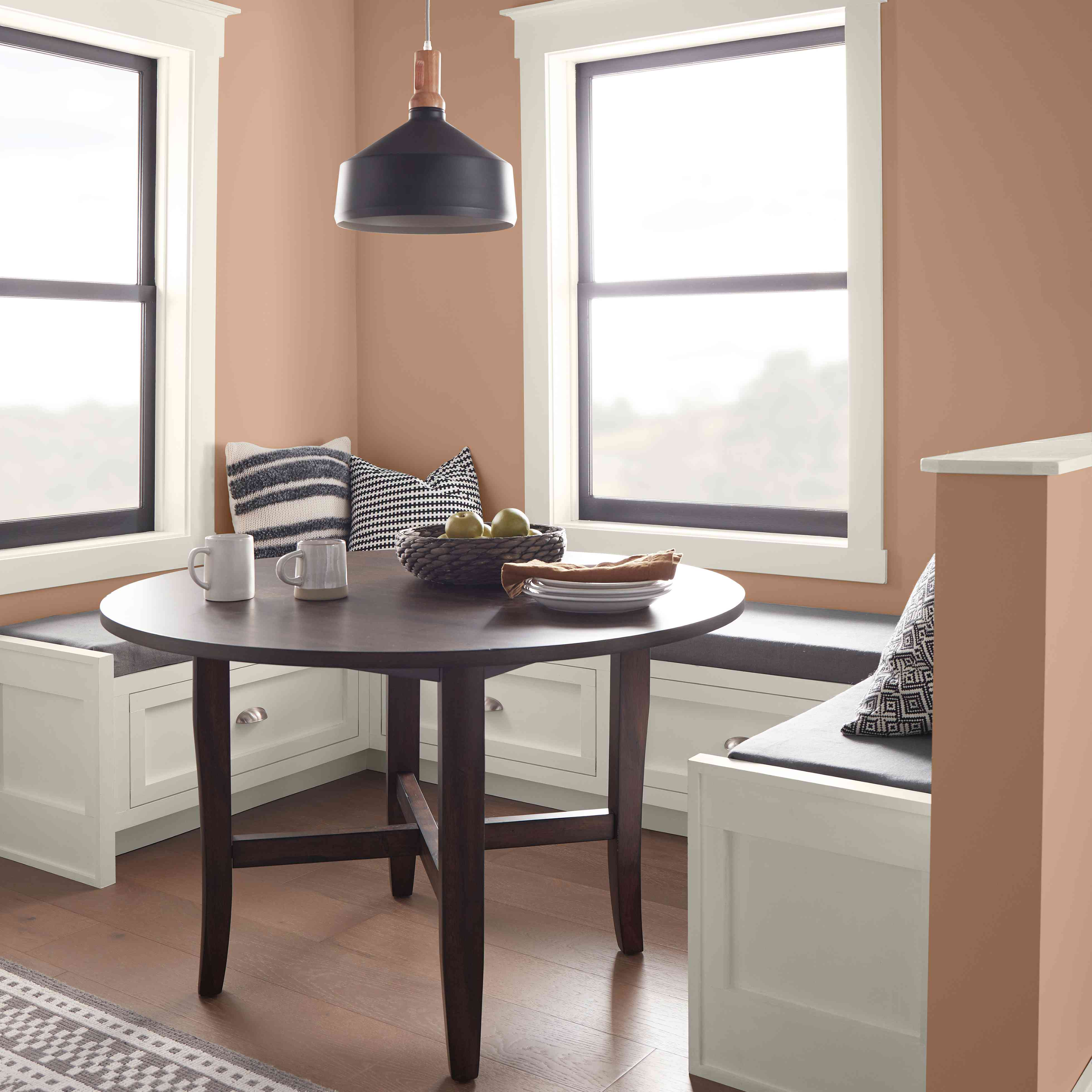 breakfast nook using behr's color of the year, canyon dusk