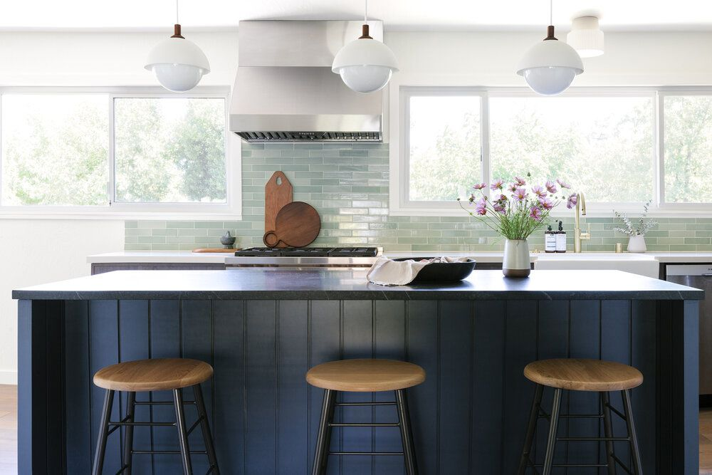 Coastal kitchen with blue accents