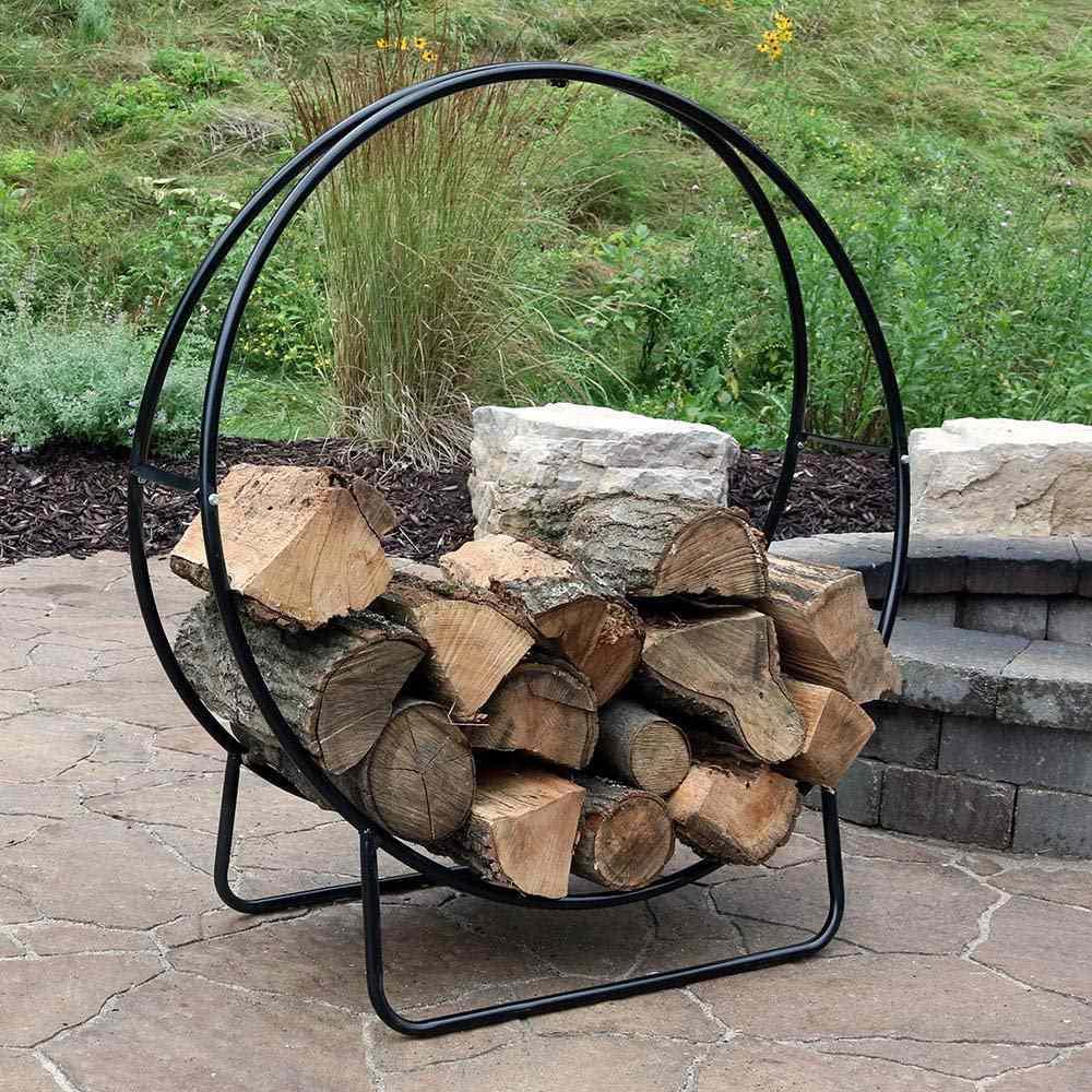 Sunnydaze Decor Black Steel Outdoor Log Hoop