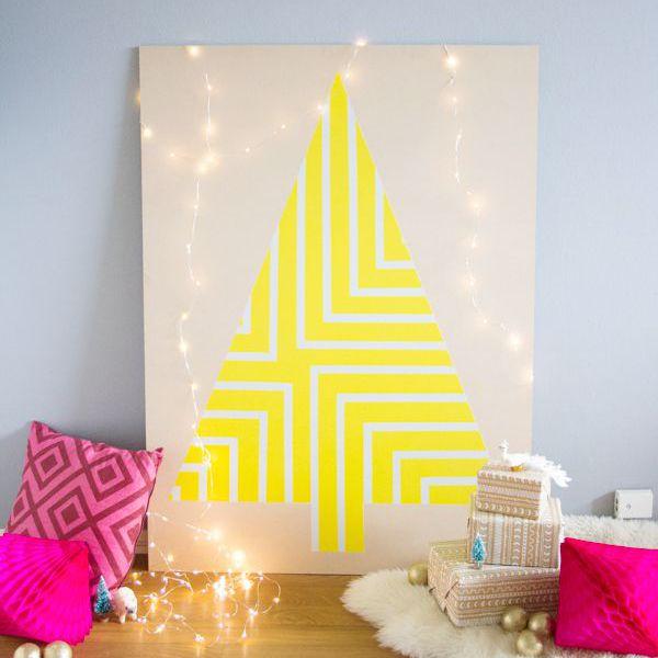 diy painted geometric christmas tree