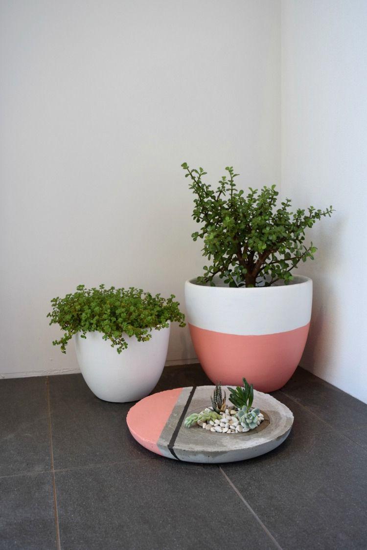 Large concrete pots on a porch