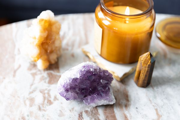 crystals on a marble table