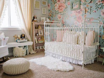 Vintage nursery with beautiful faux vintage crib