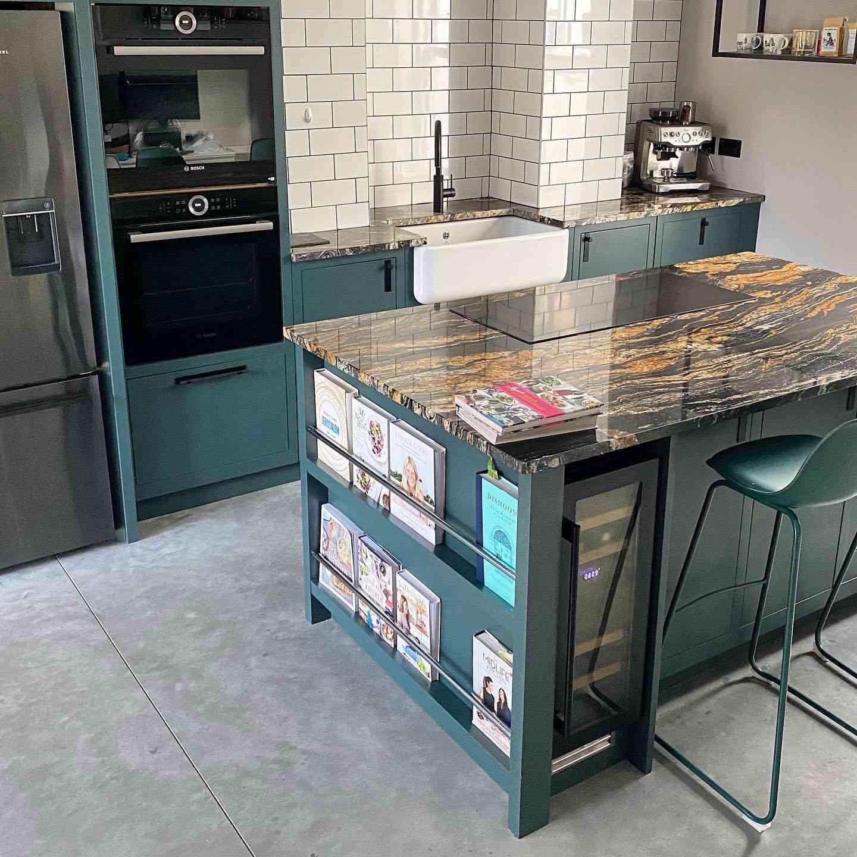 kitchen island with built-in cookbook shelf