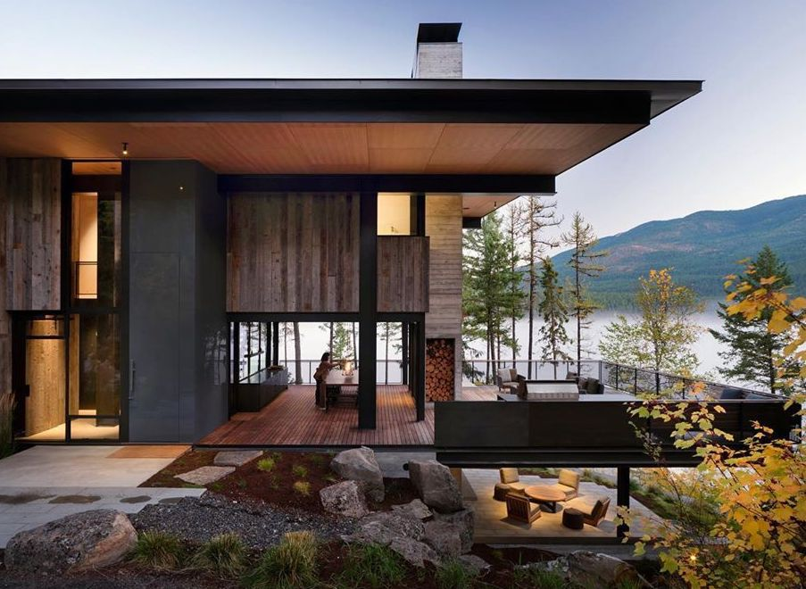 Modern house set next to water