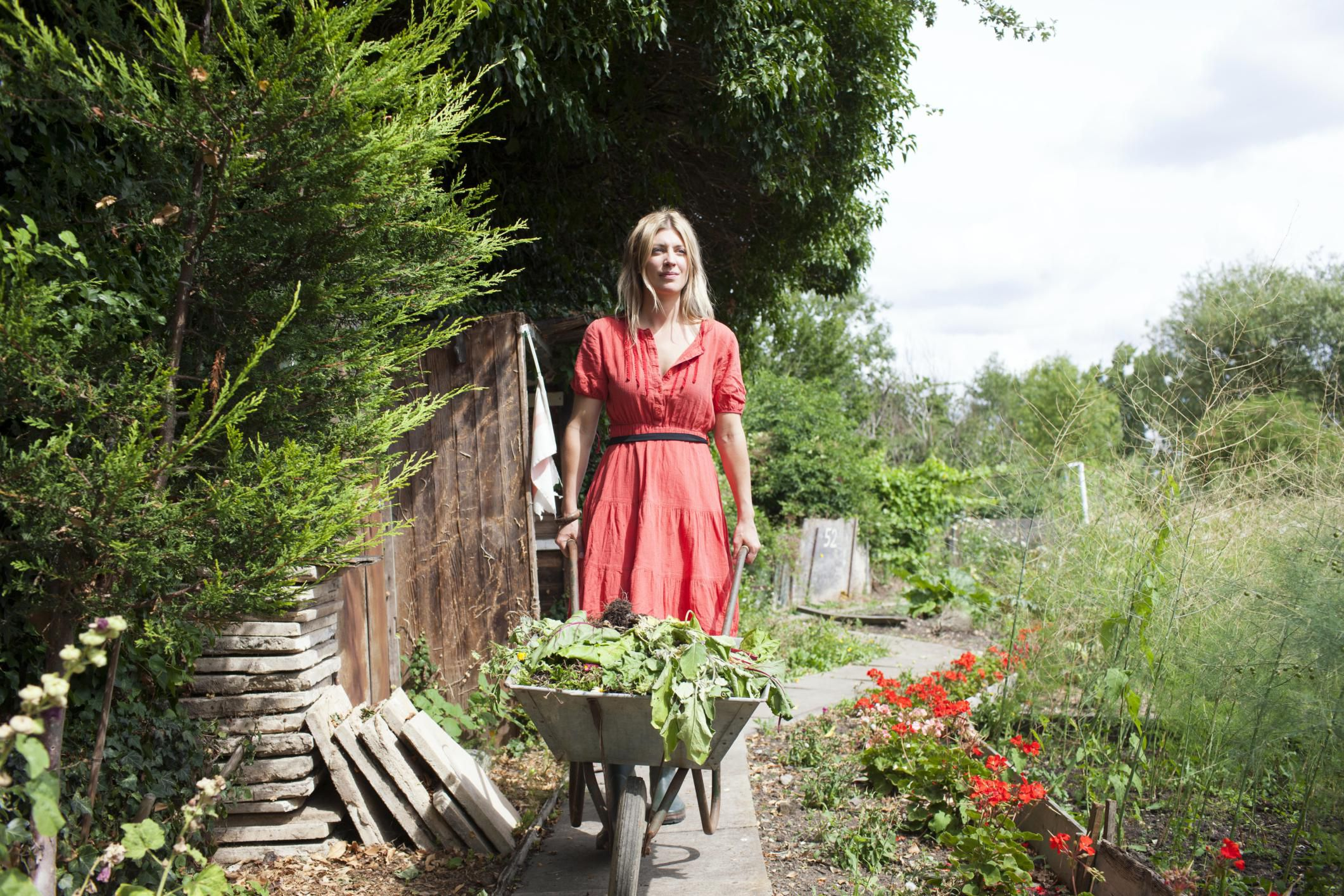 A woman with a wheelbarrow of refuse in a garden