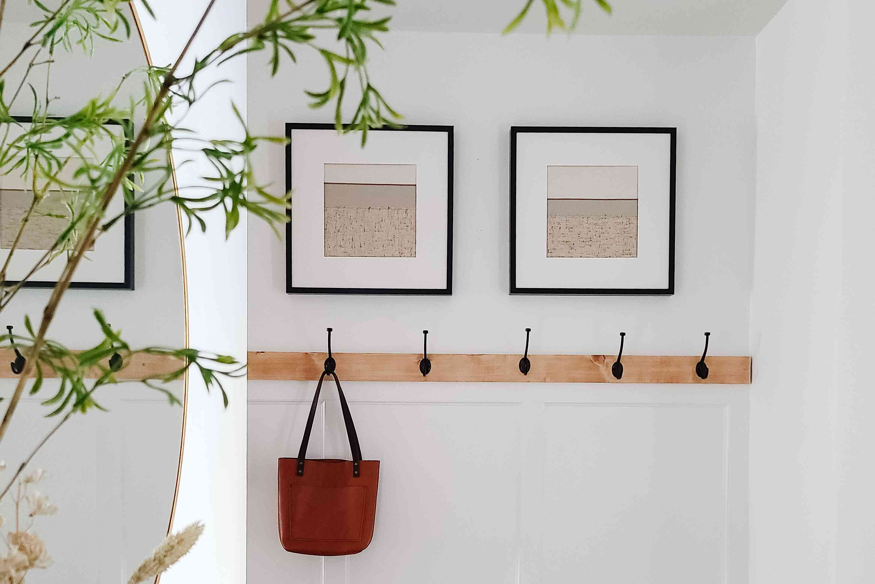 Framed artwork above a simple mounted coat rack.