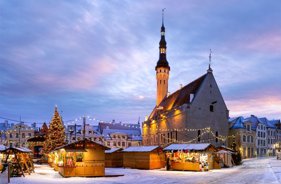 Town Hall, Christmas Market, Snow, Tallinn, Estonia